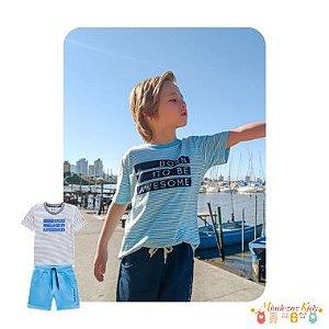 Conjunto camiseta em malha listrada botonê e bermuda em moletom Onda Marinha
