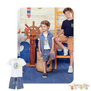 Conjunto camiseta em meia malha e bermuda em moletom botonê Onda Marinha