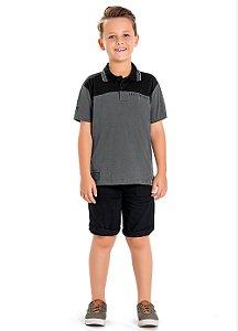 Conjunto camisa polo e bermuda Playground Fakini - BLK1