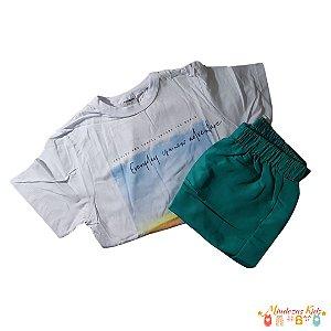 Conjunto camiseta em malha e bermuda poliester Rovitex Kids - BLK1