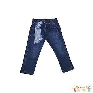 Jegging jeans detalhe em fita xadrez Parizi - BLK1