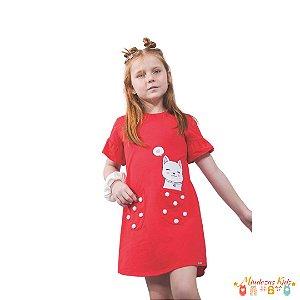 Vestido em meia malha com bolsinhos Le Petit Kukiê