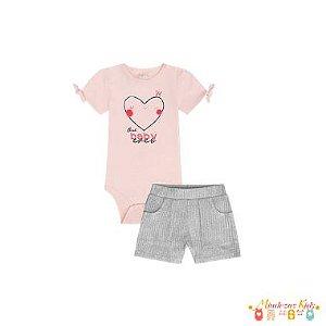 Conjunto Body em suedine e shorts em malha canelada Infanti