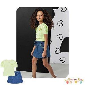 Conjunto de blusa em malha canelada e saia em malha denim (com shorts) Infanti