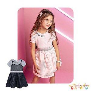Vestido em cotton com sobreposicao em chiffon Infanti
