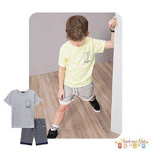Conjunto camiseta meia malha e bermuda moletinho listrado com elastano Luc.boo