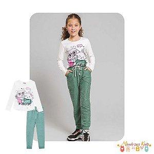 Blusa em cotton e calça jogger em moletom Le Petit  Kukiê