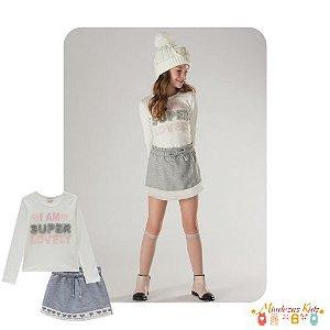 Blusa em cotton e short-saia em moletom Infanti