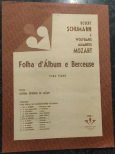 FOLHA D´ÁLBUM - Schumann e BERCEUSE - Mozart - partituras para piano solo