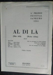 PARTITURA PARA PIANO: AL DI LÁ - C. Donida