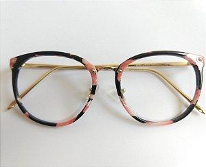 Óculos Para Grau Redondo Acetato Rose Haste Dourada