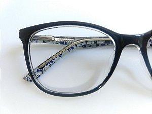 984494fe2e67e Óculos Para Grau Arredondado Acetato Preto Fundo Azul Rajado zoom