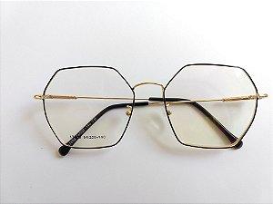 Óculos Para Grau Metal Hexagonal Preto com Prata Gata Mia