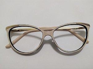 Óculos Para Grau Acetato Puxadinho Nude Dourado