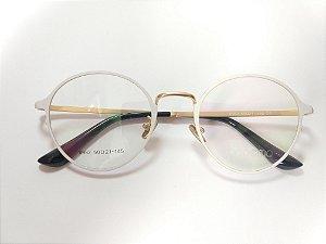 Óculos Ipanema Metal Redondo Branco Fosco e Dourado