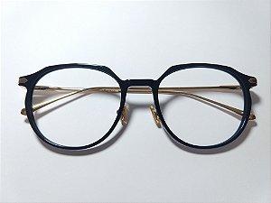 Óculos Para Grau Hexagonal Arredondado Preto Haste Dourada