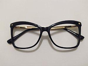 Óculos Para Grau Acetato Quadrado Puxado Preto e Dourado Gata Mia