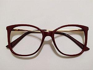 Óculos Para Grau Acetato Arredondado Vinho e Dourado