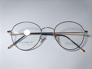 Óculos Para Grau Metal Preto e Dourado Redondo Oval Ipanema