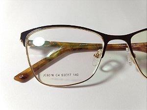 ab7e9d00fedf0 Óculos Para Grau Metal Marrom Com Haste Marrom Claro zoom