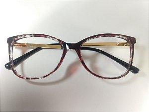 Óculos Para Grau Arredondado Acetato Vinho Haste Dourada
