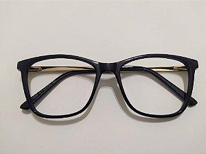 Óculos Para Grau Acetato Preto e Dourado Gata Mia