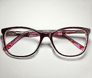 Óculos Para Grau Arredondado Acetato Vinho Fundo Estampado