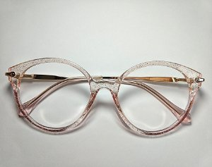 Óculos Gata Mia Transparente Glitter Redondo Nude