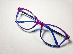 Óculos Gata Mia Roxo e Azul Quadrado Arredondado Acetato