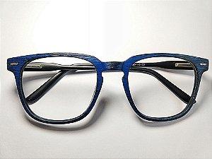 Óculos Para Grau Azul Imita Madeira Grande Redondo Gata Mia