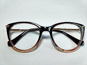 Óculos Para Grau Redondo Bicololor Marrom Glitter Acetato