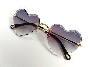 óculos de Sol Formato Coração Metal Dourado Degradê UVA/UVB