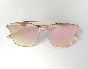 605002907 Óculos de Sol Metal Dourado Espelhado Vermelho UVA/UVB - Óculos Gata ...