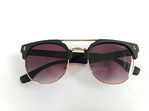 Óculos de Sol Redondo Preto Fosco Dourado Proteção UVA/UVB