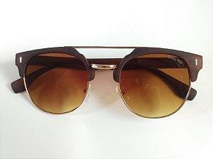 Óculos de Sol Redondo Marrom Fosco Dourado Proteção UVA/UVB