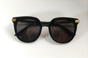 Óculos de Sol Arredondado Preto Fosco Proteção UVA/UVB