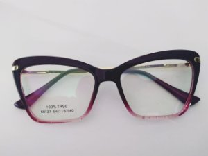 Óculos Gata Mia Acetato Roxo Degradê Quadrado Glitter