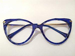 Óculos Gata Mia Acetato Azul 3D Arredondado Puxadinho
