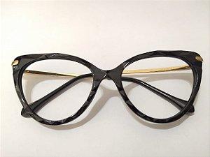 Óculos Gata Mia Acetato Preto 3D Arredondado Puxadinho
