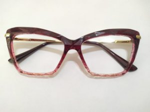 Óculos Gata Mia Acetato 3D Vermelho Bordô Degradê Quadrado Glitter
