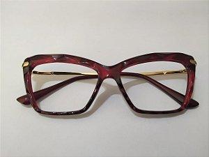 Óculos Gata Mia Acetato 3D Vermelho Bordô Degradê Quadrado