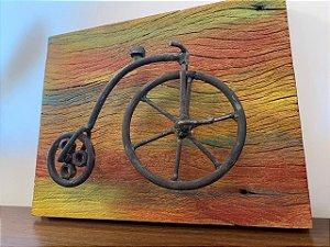 Quadro bicicleta madeira demolição - Rústico