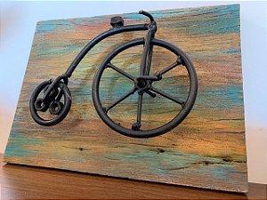 Quadro bicicleta madeira demolição - Preto