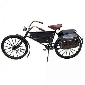 Miniatura bicicleta antiga preta com bagageiro