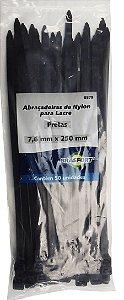 Abracadeira Nylon Brasfort 7.6mm x 250mm com 50 peças Cor: Preto