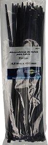 Abracadeira Nylon Brasfort 4.8mm x 400mm com 100 peças Cor: Preto