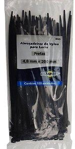 Abracadeira Nylon Brasfort 4.8mm x 200mm com 100 peças Cor: Preto