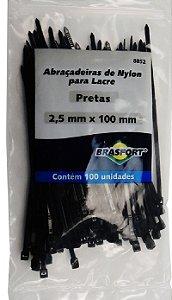 Abracadeira Nylon Brasfort 2.5mm x 100mm com 100 peças Cor: Preto