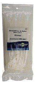 Abracadeira Nylon Brasfort 7.6mm x 200mm com 50 peças Cor: Branco