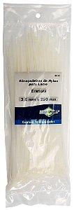 Abracadeira Nylon Brasfort 3.6mm x 250mm com 100 peças Cor: Branco